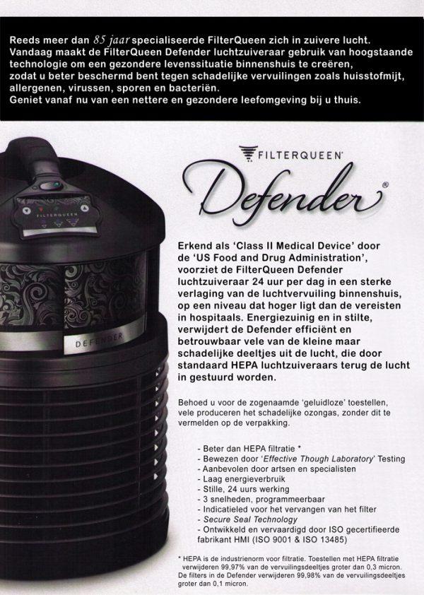 FilterQueen Defender luchtzuiveraar gratis voorstelling